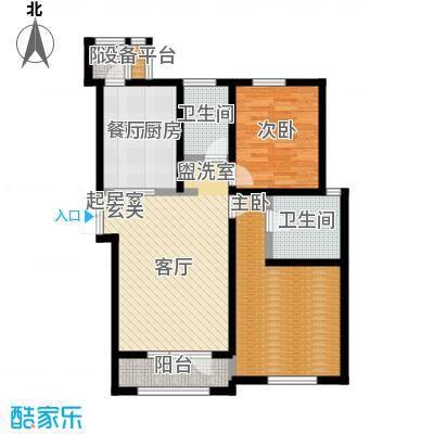 世纪梧桐公寓115.00㎡B型 二室二厅二卫户型