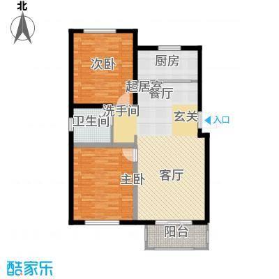 国色大观92.00㎡E户型两室两厅一卫户型2室2厅1卫