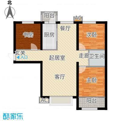 新城御景107.00㎡A2户型三室两厅一卫户型3室2厅1卫