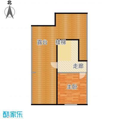 香槟新坐标3号和4号楼顶层中户越户型 一室一厅 面积区间69-80平米户型1室1厅