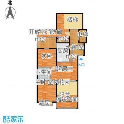 香槟新坐标7号和8号楼高层顶层中户户型 二室一厅一卫 面积区间69-80平米户型2室1厅1卫