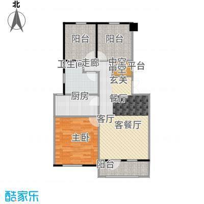 香槟新坐标82.00㎡1号和2号楼顶层中户户型 一室一厅一卫户型1室1厅1卫