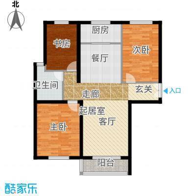 天成嘉园C 三室二厅一卫户型3室2厅1卫