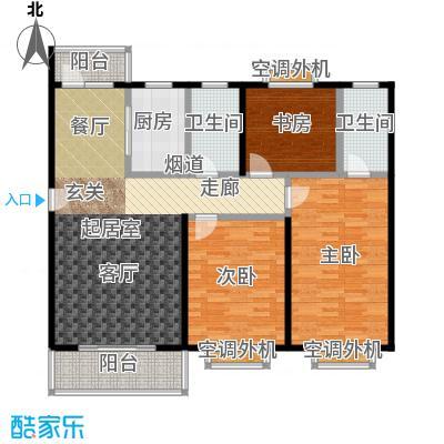 自然居家园125.00㎡三室两厅两卫一厨户型