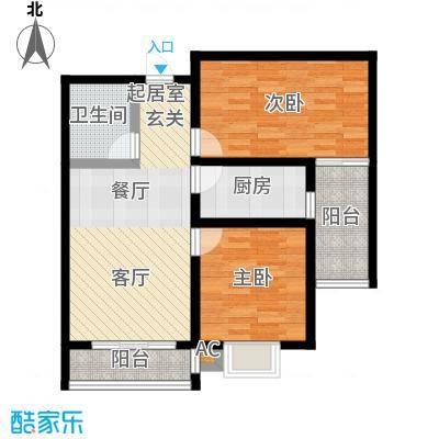 盛世桃城2室2厅1卫 87.46/88.07平米户型2室2厅1卫