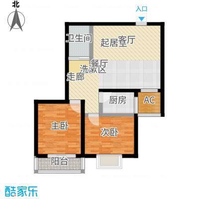 盛世桃城2室2厅1卫 85.77平米户型2室2厅1卫