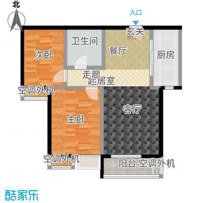果岭湾89.50㎡13/14楼户型图户型2室2厅1卫