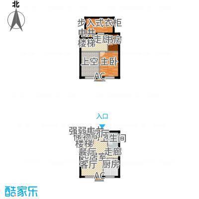 亚泰城54.15㎡二期F5户型一室一厅一卫户型1室1厅1卫