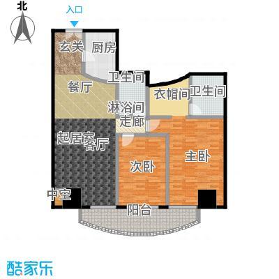 迎宾国际公寓146.37㎡1门04户型 二室二厅户型