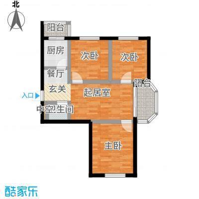 幸福港湾66.01㎡三室两厅两卫C户型3室2厅2卫