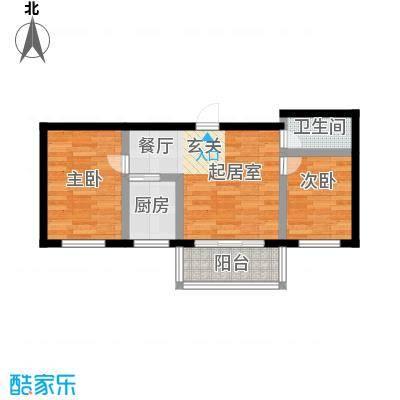 幸福港湾49.29㎡两室两厅一卫A户型2室2厅1卫
