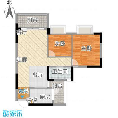 安南丽苑83.62㎡27栋04房2房2厅1卫户型2室2厅1卫