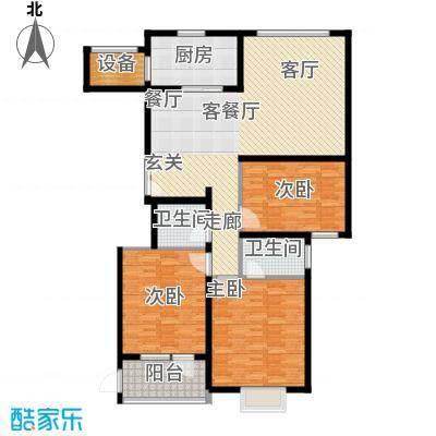 汇中广场1号楼/2号楼 B户型 三室二厅二卫 138.19㎡/139.27㎡户型3室2厅2卫