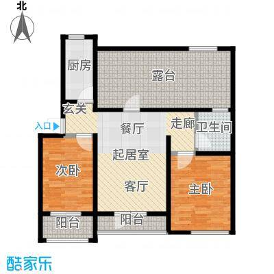翡翠华府两室一厅一卫 89.89m²户型2室1厅1卫