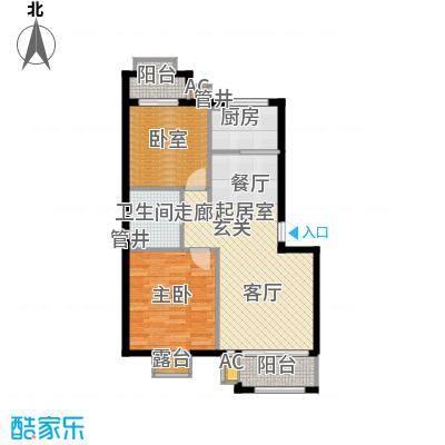 皇家御湾82.00㎡L2户型 两室两厅一卫户型2室2厅1卫