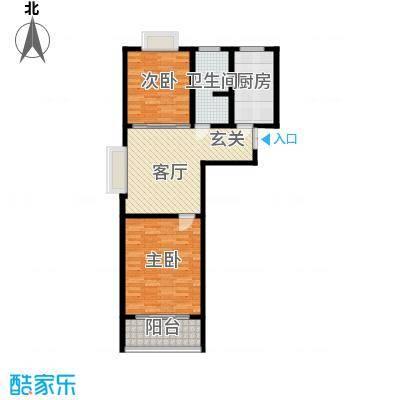 东城新华风景85.13㎡二期6号楼标准层2室1厅1卫户型2室1厅1卫
