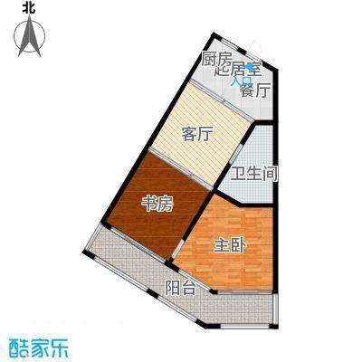 望虞花园86.08㎡1#单身公寓标准层户型2室2厅1卫