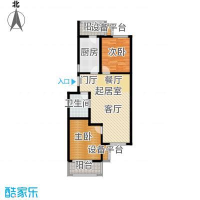 美茵小镇二室一厅一卫 89.63-92.61平米户型