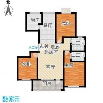 英伦花园148.55㎡三室两厅两卫户型3室2厅2卫