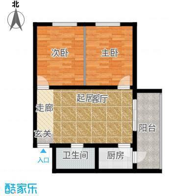MINI国度两室一厅一卫 使用面积73.12㎡户型