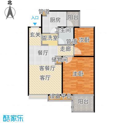 保利家园85.00㎡L户型 两室两厅一卫户型2室2厅1卫