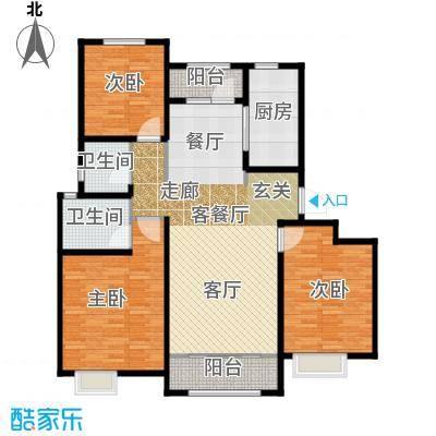 保利香颂湖119.00㎡洋房C 宽景阔居户型3室2厅2卫