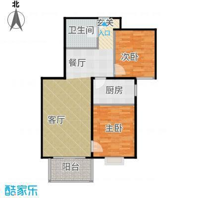 首创漫香郡19#楼B1户型(已售完)2室2厅1卫1厨户型