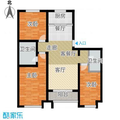公园里122.00㎡1#楼B1户型3室2厅2卫