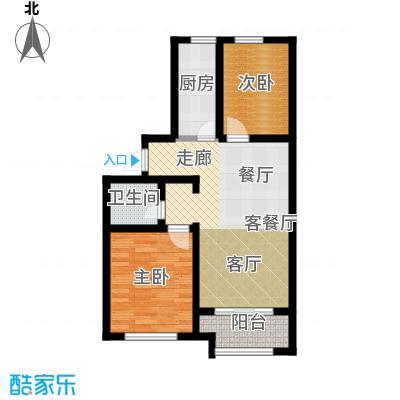 公园里82.00㎡1#楼F户型2室2厅1卫