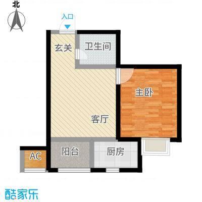 九号国际城57.50㎡h3一室一厅一卫户型