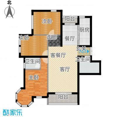 浦江国际97.65㎡项目建筑面积151平米户型3室2厅1卫