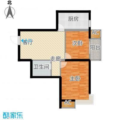 九号国际城75.10㎡h2两室一厅一卫户型