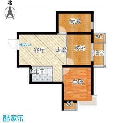九号国际城69.00㎡两室一厅一卫户型2室1厅1卫