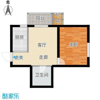 九号国际城50.24㎡一室一厅一卫户型1室1厅1卫