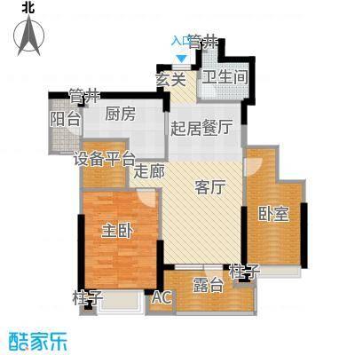沈阳雅居乐花园93.37㎡E2户型二室二厅一卫户型2室2厅1卫-2