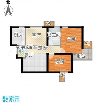九号国际城72.66㎡E1两室两厅一卫户型