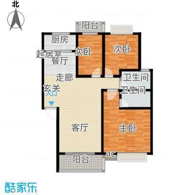 山水华庭二期126.79㎡01户型三房两厅两卫户型