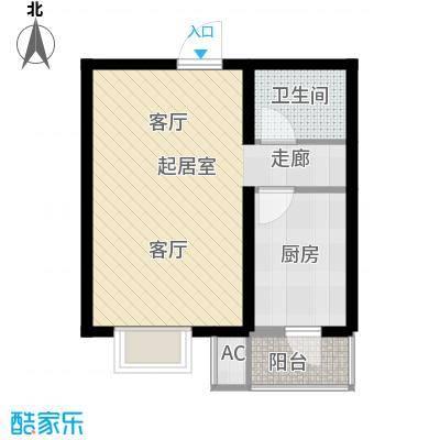 水榭花城51.67㎡11号楼一室一厅一卫户型1室1厅1卫