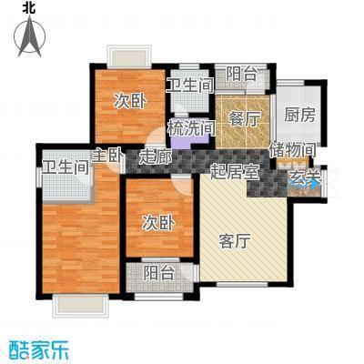 名士豪庭92.00㎡三室两厅两卫户型2室2厅1卫