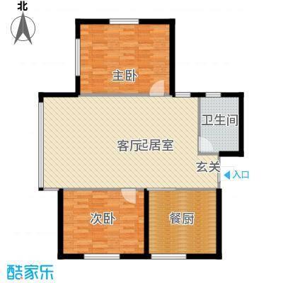 北岸七英里96.98㎡F座 两室一厅一卫 建筑面积96.98平米户型2室1厅1卫