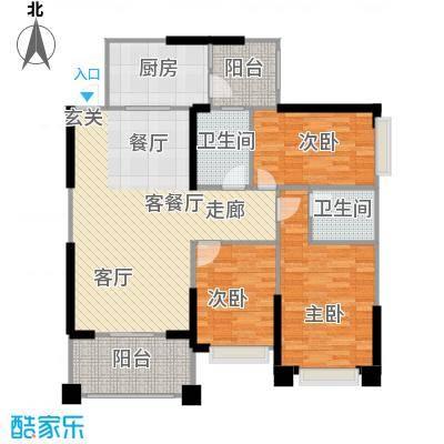 敏捷绿湖国际城109.00㎡1、3、7、14栋01单位户型3室2厅2卫