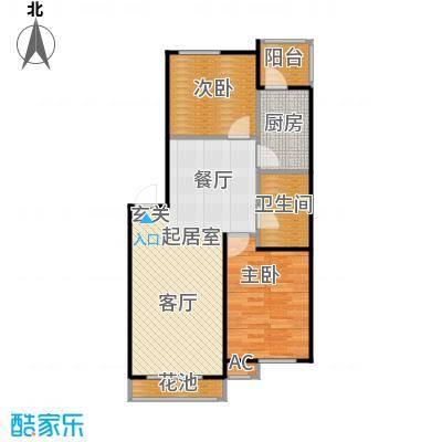 滨才城54―A---2 二室二厅一卫 55.2米户型