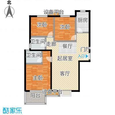 朝阳翡翠城108.00㎡C1户型三室两厅两卫户型3室2厅2卫