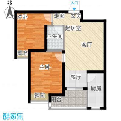 曲江・国风世家77.39㎡C2户型两室两厅一卫户型2室2厅1卫