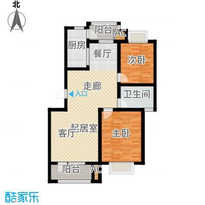国际城月伴湾104.80㎡F户型2室2厅1卫