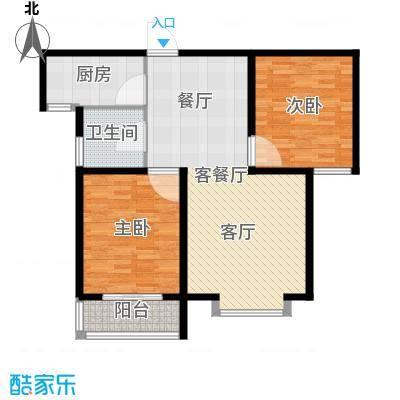 秀兰城市美居93.18㎡G-两室两厅一卫户型2室2厅1卫