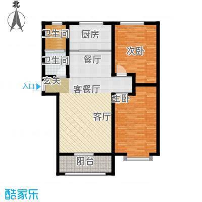 秀兰城市美居111.75㎡F-两室两厅一卫户型2室2厅1卫