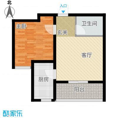 秀兰城市美居61.38㎡E-一室一厅一卫户型1室1厅1卫