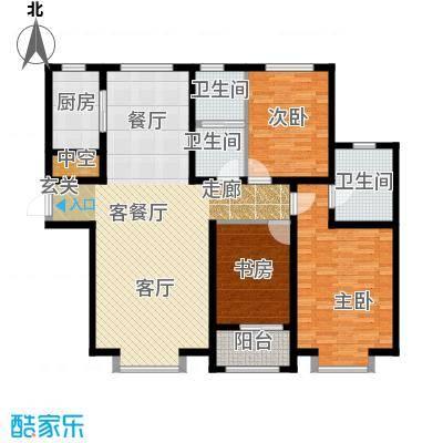 秀兰城市美居140.94㎡C-三室两厅两卫户型3室2厅2卫