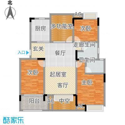 恒大晶筑城111.00㎡D户型奇数层3室2厅2卫户型CC